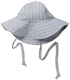 Flap Happy Baby Girls\' UPF 50+ Floppy Hat, Chambray Stripe Seersucker, Small