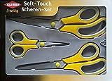 Kleiber 3 piece soft touch scissor set 1 pair each 250mm dressmakers 220mm household 140mm sewing scissor yellow