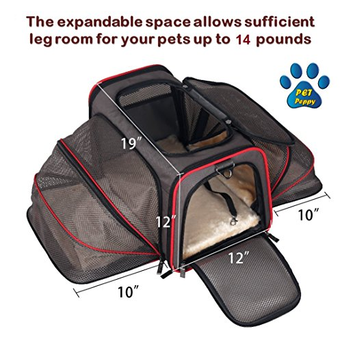 Expandable Pet Carrier- Airline Approved- Designed for Cats, Dogs, Kittens, Puppies – Extra Spacious With 2 Side Expansion!, Comfortable, Soft Sided Travel Carrier – 100% Satisfaction Guaranteed!