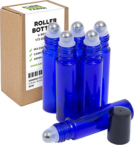 Pure Essential Oils Roller Bottles with Recipe eBook, 6-Pack, Cobalt Blue