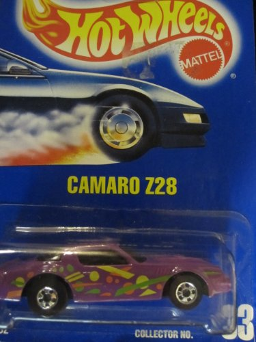Camaro Z-28 1992 Hot Wheels #33 Purple with Basic Wheels on Solid Blue Card - 1