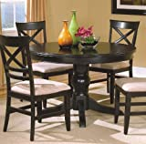 "Contemporary Design Black 48"" Round Dining Table"