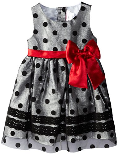 Youngland Little Girls' Dot Print Occasion Dress, Silver/Black, 3T