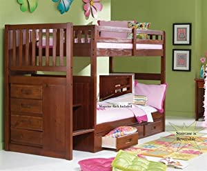 Stair Step Bunk Bed With 3-drawer Bunk Pedestal from Discovery