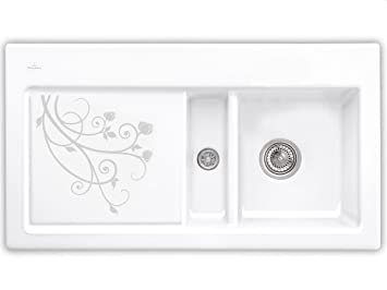 Villeroy Boch Subway 50 &La Rose Ceramic Sink Unit for Kitchen Sink White Design