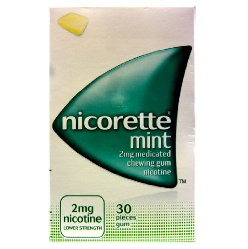 NICORETTE MINT CHEWING GUM 2MG 30 PC STOP SMOKING NICOTINE LOW STRENGTH GUM
