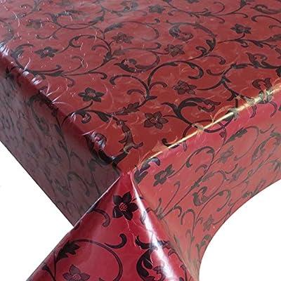 Wachstuch Breite 130 cm Länge wählbar - Barock Blumen Rot geprägt - Main abwaschbare Tischdecke Gartentischdecke von DHT-WT130cm auf Gartenmöbel von Du und Dein Garten