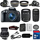 Canon T5i Digital SLR Camera with EF-S 18-55mm f/3.5-5.6 IS STM Lens + 75-300mm III Zoom + XIT Wide Angle + XIT Telephoto + High Speed 16GB Memory Card + 8pc Bundle - International Version