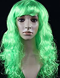 Halloween Masquerade Party Long Curly Hair Wig (green)