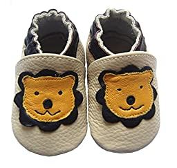 MOKRIL® Toddlers Baby Girls Boys Soft Sole Genuine Leather Slippers, in Various Sizes and Patterns(18-24m, Lion)