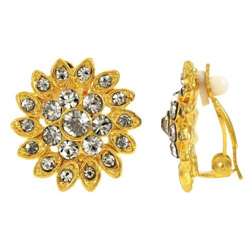 Agatha's Clear Rhinestone Clip On Earrings - Gold Tone