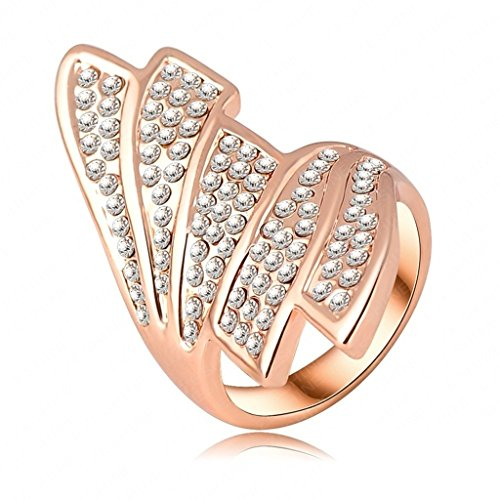 Alimab Jewelery Womens Promise Rings Gold Plated Wing Rose Gold
