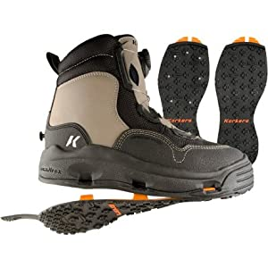 Korkers WhiteHorse Wading Boot with Kling-On and Studded Kling-On Outsoles by Korkers