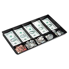 Buddy Products Coin and Bill Tray, 10 Compartments, Plastic, 9.25 x 1.625 x 15.125 Inches, Black (0533-4)