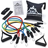 Black Mountain Products Resistance Band Set with Door Anchor/Ankle Strap/Exercise Chart/Resistance Band Carrying Case