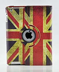 LiViTech(TM) 360 Degree PU Leather Vintage British UK Flag Style for Apple iPad 2 3 4 (Smart Cover's Sleep & Awake)