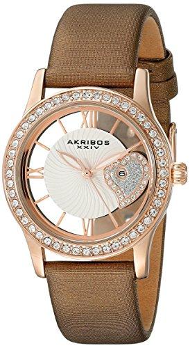 Akribos XXIV AK811BR 34mm Metal Case Brown Calfskin Synthetic Sapphire Women's Watch