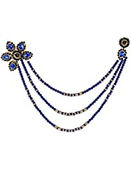 Z Retails Blue Pearl And Crystal Saree Brooch For Women