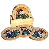 Handicraft Paradise Real Gemstone Pine Wood Relaxing Pose Design Round Coaster