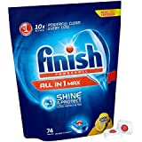 Finish All-in-One Max Dishwasher Tablets - Lemon, Pack of 1 (Total 74 Tablets)