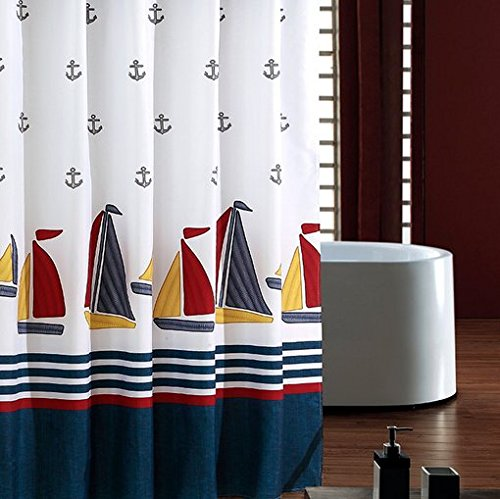 ufriday-nautical-print-shower-curtain-fabric-water-repellent-and-mildew-resistant-with-free-hooks-se