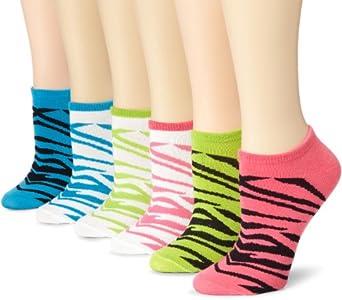 K. Bell Socks Women's 6-Pack Zebra Brights No Show Socks