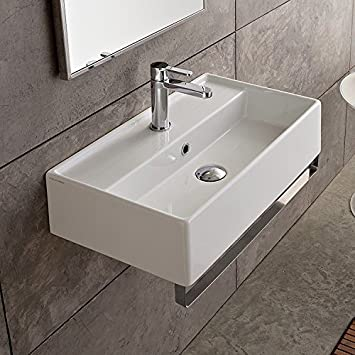 14 Inch White Ceramic Bathroom Sink, One Hole