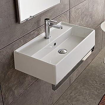14 Inch White Ceramic Bathroom Sink, One Hole