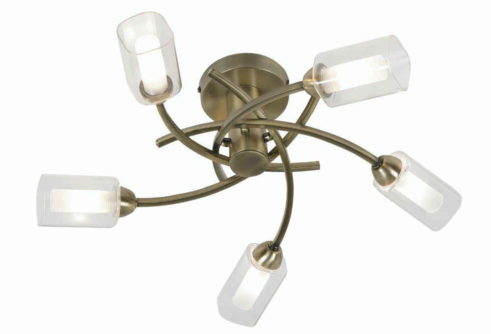 Oaks Lighting 5-flammige Deckenleuchte Ofira in Messing-Antik-Optik