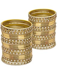 Glossy Glass Bangle Set- Golden Lacquer Wedding Bangles For Women