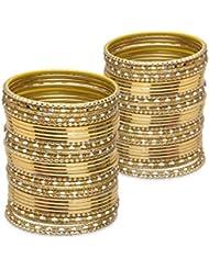 Glossy Glass Bangle Set- Golden Lacquer Wedding Bangles For Women