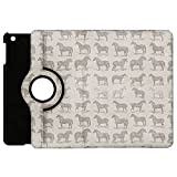 Vintage Horses Pattern on Grey Rotate Flip Folio Case for iPad 2 3 4 Mini, Kindle Fire, & Samsung Galaxy Note - Apple iPad Mini 1 Rotary Cover