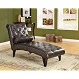 Dark Brown Leather-Look Chaise lounge