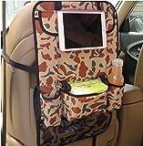 EarthSafe® Coche del asiento trasero Organizador con la tableta de bolsillo multi-recorrido del bolsillo del almacenaje del bolso del respaldo del asiento del vehículo protector de la cubierta (Blanco camo)