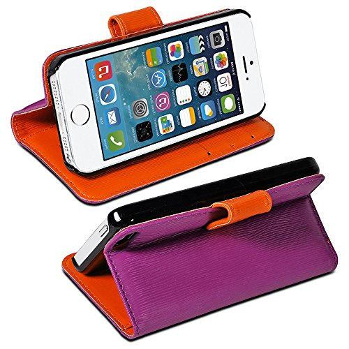 Mylife (Tm) Royal Purple And Volcano Orange - Modern Design - Textured Koskin Faux Leather (Card And Id Holder + Magnetic Detachable Closing) Slim Wallet For Iphone 5/5S (5G) 5Th Generation Itouch Smartphone By Apple (External Rugged Synthetic Leather Wit