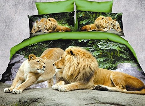 Spoutdoor Crown Lion Couple Print Polyester 3D Bedding,Duvet Cover Set,4 Piece,Green,Twin,Extra Long Twin,Full,Queen Size (Twin)