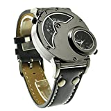 Aposon Mens Dual Time Quartz Analog Wrist Watch with Unique Dual Dial Design,Steel Case,Comfortable Leather Band,Two Time Zone – Black