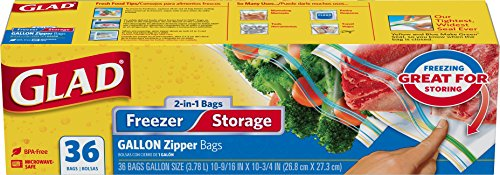 Glad Food Storage Bags, 2 in 1 Zipper, Gallon, 36 Count (Pack of 3) (Glad Storage compare prices)