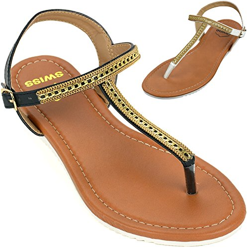 Alpine Swiss Womens Slingback T-Strap Gold Chain Accent Thong Sandals