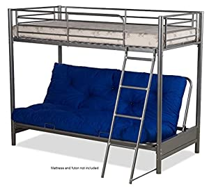 Futon Bunk Bed (complete With Mattresses) In Silver Metal Finish