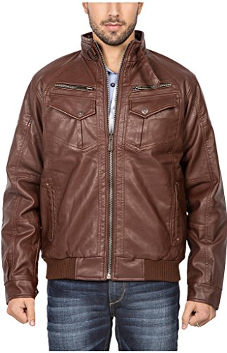 Spykar Men Faux Leather Brown Jacket (X-Large)