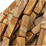 Wood Jasper Rectangle Tube Beads 4x13mm 15.5 Inch Strand