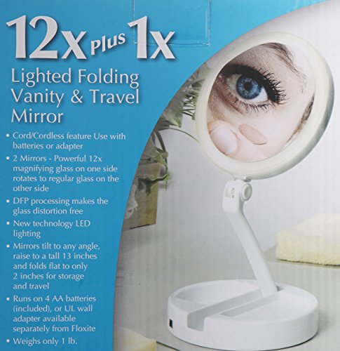 Floxite 7504 12l 12x Led Lighted Folding Vanity And Travel