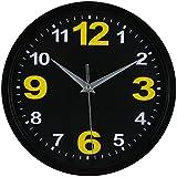 RUIFA Indoor Silent 8-Inch Precedent Decorative Wall Clock with Arabic Numerals (Black)