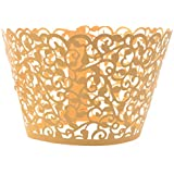 Cosmos ® 24 Pcs Flower Vine Filigree Cutout Lace Cupcake Wrapper Wraps Liner Wedding Party Cake Decoration (Gold)