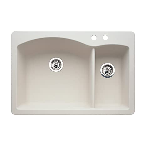 Blanco 440201-2 Diamond 2-Hole Double-Basin Drop-In or Undermount Granite Kitchen Sink, Biscuit