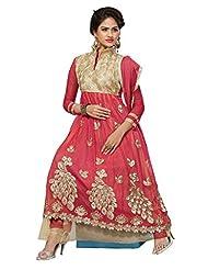 Price Bet Pink Net Anarkali Suit Salwar Suit - B016YA2A3E