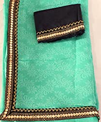 KC Latest Self Designing Saree Cotton Silk with New Mirror Border Saree with Contarst Black Blouse On Sale