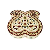 "Lavender Craft DOUBLE MANGO Shaped Handmade Meenakari Decorative Platter/Dry Fruit Box - SMALL G.M. (6""x 6"" X..."