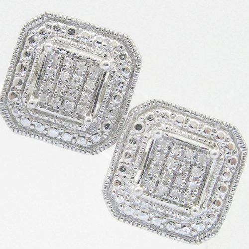 Mens 925 Sterling Silver earrings fancy stud hoops huggie ball fashion dangle white square ball stud outline pave earrings
